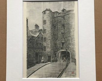 1948 Edinburgh - Two Sisters near Smollett's House Original Vintage Chiang Yee Illustration - Mounted and matted - Available Framed