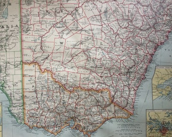 1903 South-East Australia Large Original Antique Map, 15.5 x 20.5 inches, Harmsworth map