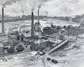 1894 Clifton Hall Colliery, Manchester Original Antique Print - Mounted and Matted - Available Framed