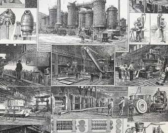 1923 Iron Factory Original Antique Print - Mounted and Matted - Decorative Art - Wall Decor - Machinery - Available Framed