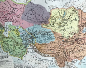 1924 Mongolian Empire Original Antique Map - Mounted and Matted - Mongol History - Available Framed