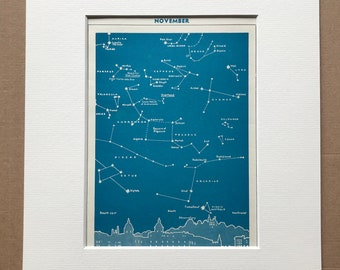 1940s November Star Map seen over Greenwich Original Vintage Print - Mounted and Matted - Astronomy - Celestial Art - Available Framed