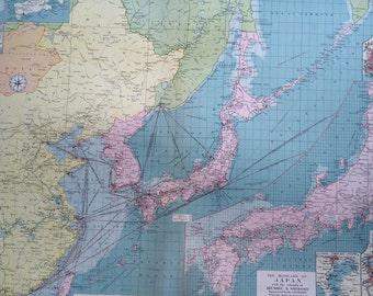1920 Chinese & Japanese ports mercantile marine map - extra large original vintage map