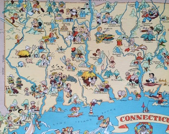 1935 Connecticut Original Vintage Cartoon Map - Ruth Taylor - Available Mounted and Matted - Whimsical Map - United States