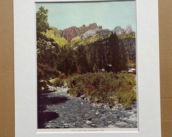 1944 Castle Crags and Sacramento River Original Vintage Photo Print - California - Mounted and Matted - Available Framed