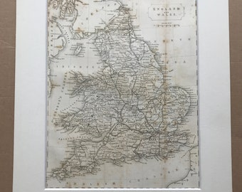 1877 England and Wales Original Antique Map - Mounted and Matted - Available Framed