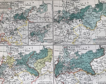 1897 The History of Prussia Original Antique Map - Available Mounted and Matted - Cartography - Vintage Map - Germany