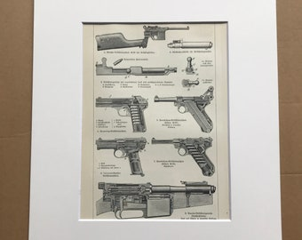 1924 Hand Firearms Original Antique Print - Weapon - Handgun - Pistol - Gun - Military Decor - Mounted and Matted - Available Framed