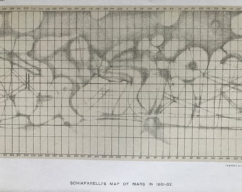 1913 Schiaparelli's Map of Mars in 1881-82 Original Antique Print - Astronomy - Stars - Celestial - Mounted and Matted - Available Framed