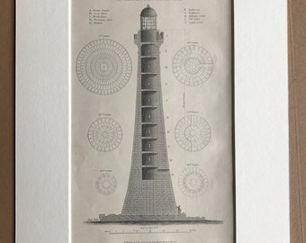 1858 Lighthouse - Sectional View of Skerryvore Lighthouse Original Antique Engraving - Available Matted and Framed - Diagram - Scotland