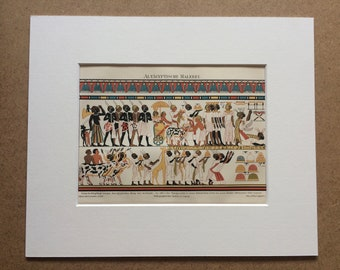 1895 Egyptian Painting Original Antique Lithograph - Mounted and Matted - Ancient Egypt - Vintage Wall Decor - Available Framed
