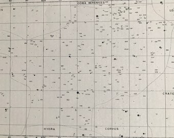 1923 Virgo Original Antique Print - Star Map - Astronomy - Constellation - Zodiac - Mounted and Matted - Available Framed