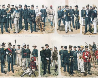 1896 Marines and Colonial Troops Large Original Antique Lithograph - Available Mounted and Matted - Military Decor