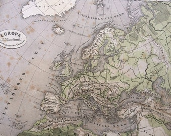1861 Europe (Orohydrographic) Original Antique Hand-Coloured Engraved Map - E.Von Sydow German Atlas - Available Mounted and Matted