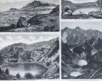 1898 Lake Formations  Large Original Antique Print - Available Mounted and Matted - Geology - Wisconsin - Utah - Vosges - Karwendel