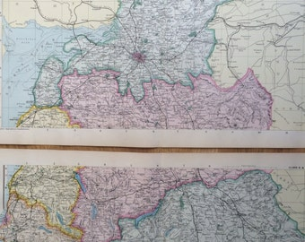 1907 CUMBERLAND & WESTMORLAND Set of 2 Large Original Antique Maps, 20.5 x 13.5 inches each, historical wall decor, George W Bacon maps