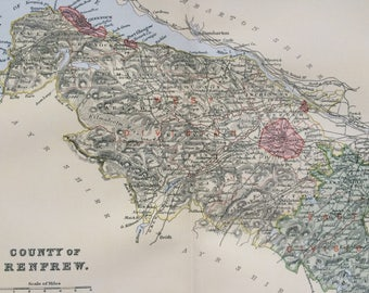 1901 County of Renfrew Original Antique Map - Scottish County, cartography, Scotland, Victorian Decor - Available Framed