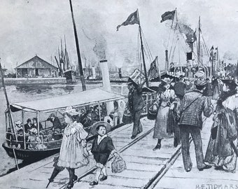 1894 Trafford Wharf and Salford Docks Original Antique Print - Manchester - Mounted and Matted - Available Framed
