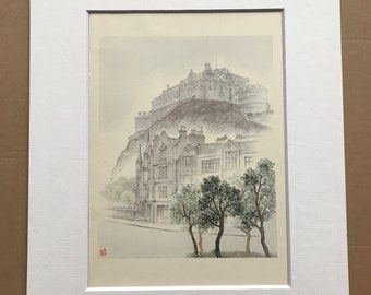 1948 Edinburgh - The Castle from the Grassmarket Original Vintage Chiang Yee Illustration - Mounted and matted - Available Framed