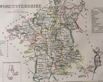 1848 Worcestershire Original Antique Hand-Coloured Engraved Map - UK County Map - Available Framed - Cartography - Wall Decor - England