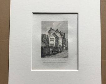 1816 Bishop Bonners Palace, Lambeth Marsh Small Original Antique Engraving - Architecture - England - Mounted and Matted - Available Framed