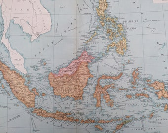 1920 East Indies Extra Large Original Antique Map showing Railways, open and under construction, and steamer routes - Southeast Asia