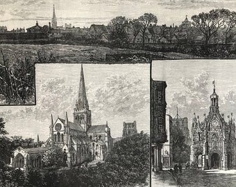 1883 Chichester: The Cathedral from the East, General View and Market Cross Original Antique Print - Mounted and Matted - Available Framed