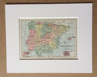 1895 Spain & Portugal Original Antique World Map - Mounted and Matted - 8 x 10 inches - Framed Map - Gift Idea - Framed Vintage Art