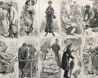 1883 Varieties of the Tourist Species Original Antique Engraving - Victorian Decor - Fashion - Women - Humour - Tourism - Unique Wall Decor