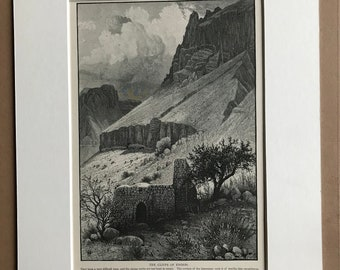 1880 The Cliffs of Engedi Original Antique Matted Engraving - Available Framed - Palestine - Israel - Victorian Wall Art