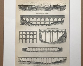 1875 Aqueduct Original Antique Matted Engraving - Architecture - Matted & Available Framed - Dee Chirk Delle Torre Spoleto Maintenon Nismes