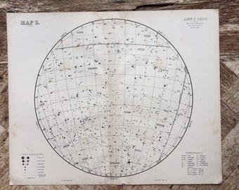 1896 Original Large Antique Star Map for anno 1880 - 14 x 18 inches - astrology, astronomy, stars, zodiac, constellations, star-gazing