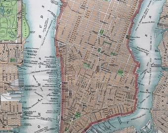 1875 New York City (Lower Part) Original Antique Map - City Plan - Manhattan - NYC - Available Matted and Framed - Vintage Wall Map