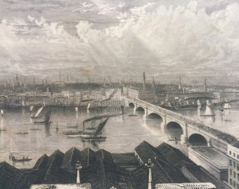 1870 London from the tower of Saint Saviour's Original Antique Engraving - Mounted and Matted - River Thames - Bridge - Ship - England
