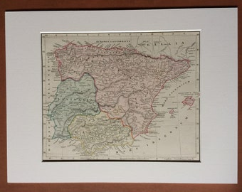 1865 HISPANIA ET INSULAE Original Antique Hand-Coloured Ancient History Map - Spain - Portugal - Iberian Peninsula - Balearic Islands