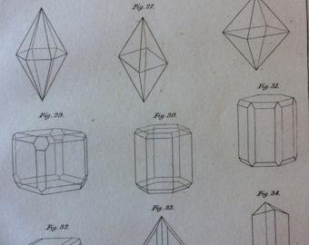 1809 Crystallography Original Antique Engraving - Victorian Technology - Engraved Encyclopaedia Illustration - Vintage Wall Art - Gift Idea