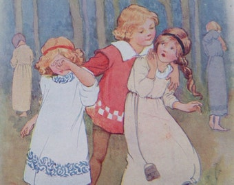 1917 Georgie Porgie Vintage Nursery Rhyme Margaret W. Tarrant Illustration - Matted and Available Framed - Wall Decor - Nursery Decor