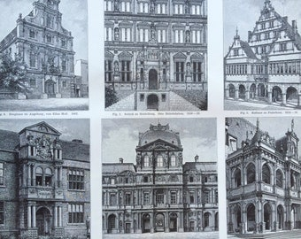 1897 German, English & French Renaissance Architecture Large Original Antique Lithograph - Available Mounted and Matted Gift for Architect