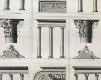 1849 Greco-Roman Column Architecture Large Original Antique Print - Mounted and Matted - Available Framed - Ancient Rome - Victorian Decor