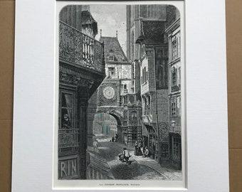 1876 La Grosse Horloge, Rouen Original Antique Wood Engraving - Mounted and Matted - Normandy - Clock - Horology - Gros Horloge - France