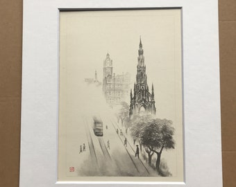 1948 Edinburgh - Princes Street in Fog Original Vintage Chiang Yee Illustration - Mounted and matted - Available Framed