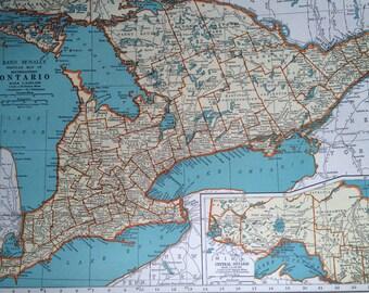1937 ONTARIO Original Vintage Map, 11 x 14 inches, Rand McNally, Home Decor, Cartography, Geography