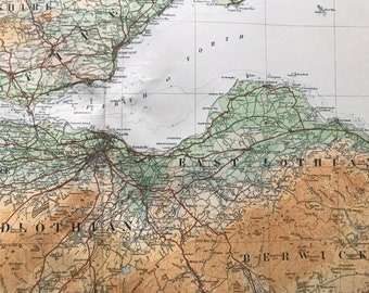 1924 Berwickshire, Midlothian, Glasgow, Stirlingshire Original Antique Ordnance Survey Panorama Map - Scotland - Cartography - Geography