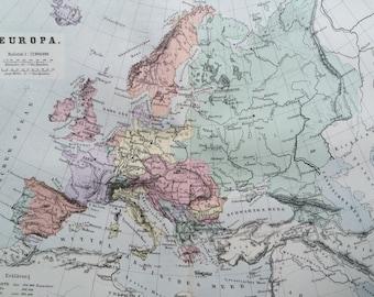 1880 EUROPE Original Antique Map, 10 x 12.75 inches, Home Decor, Cartography, Vintage Decor