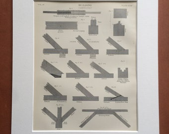 1875 Carpentry Original Antique Matted Engraving - Joints in Roofing - Construction - Builder Gift - Matted & Available Framed