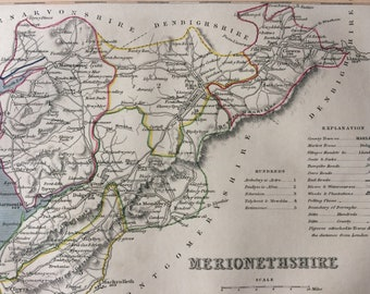 1848 Merionethshire Original Antique Hand-Coloured Engraved Map - UK County Map - Decorative Art - Cartography - Wall Decor - England
