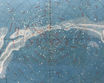 1882 Large Original Antique Lithograph - Southern Star Sky - Southern Hemisphere Star Map - Astronomy - Astrology - Victorian Wall Decor