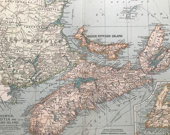 1903 New Brunswick, Nova Scotia and Prince Edward Island Original Antique Map with inset map of Newfoundland - Canada - Decorative Wall map