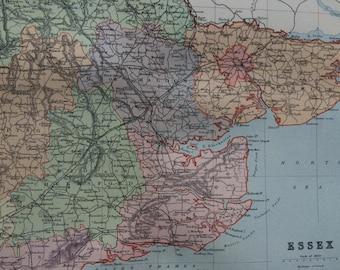 1895 Essex original antique map, english county, cartography, gift idea