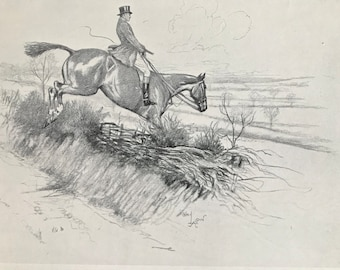 1932 Horse Jumping Original Vintage Print - Cecil Aldin Illustration - Equestrian - Fox Hunting - Mounted and Matted - Available Framed